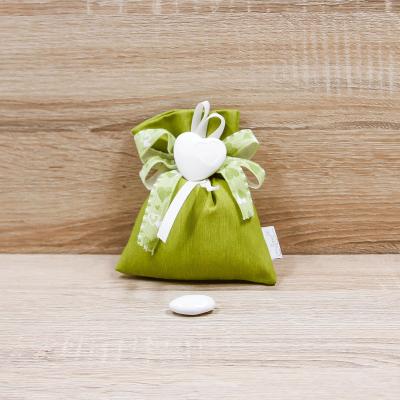 Sacchettino Verde con Cuore Orchidea