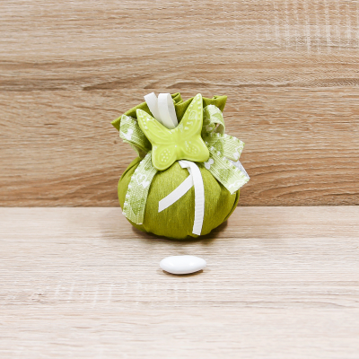 Sacchetto Puffo con Magnete Farfalla Verde Orchidea