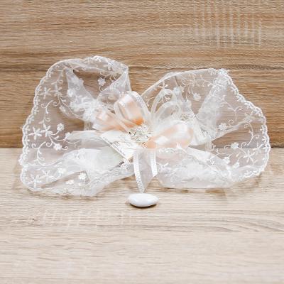 Centrino Ricamato e Spilla con Perle Orchidea