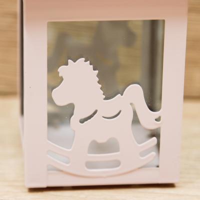 Lanterna Rosa con Cavallo a Dondolo Orchidea