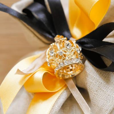 Sacchetto Grande con Ciondolo Corona Imperiale Oro Orchidea