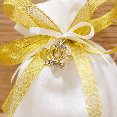 Sacchetto con Ciondolo Corona Argento Orchidea