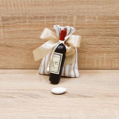 Sacchetto Beige con Apribottiglie Bottiglia Vino Linea Parigi Orchidea