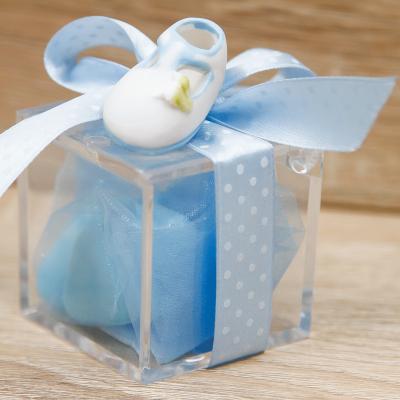 Portaconfetti Cubo con Scarpetta Celeste Orchidea
