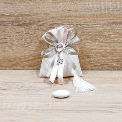 Sacchettino Bianco con Chiave Orchidea