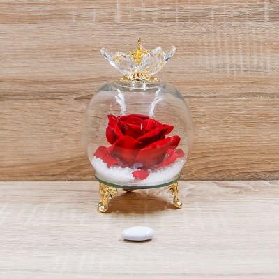 Sfera Cristalli con Rosa Rossa e Corona Oro Orchidea