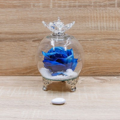 Sfera Cristalli con Rosa Blu e Corona Oro Orchidea