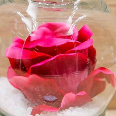 Sfera Cristalli con Rosa Fucsia e Corona Oro Orchidea