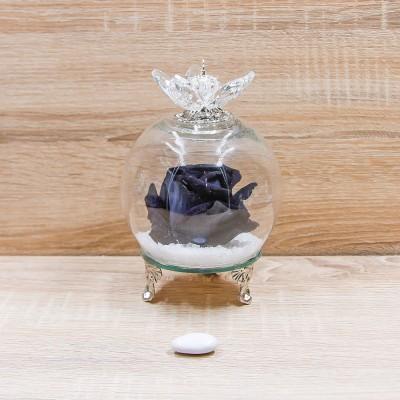 Sfera Cristalli con Rosa Nera e Corona Oro Orchidea