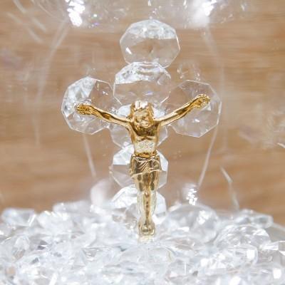 Sfera Led Cristalli con Crocifisso e Corona Oro Orchidea