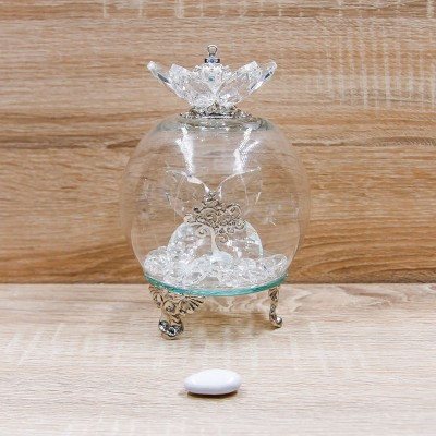 Campana Led Cristalli con Albero della Vita e Corona Argento Orchidea