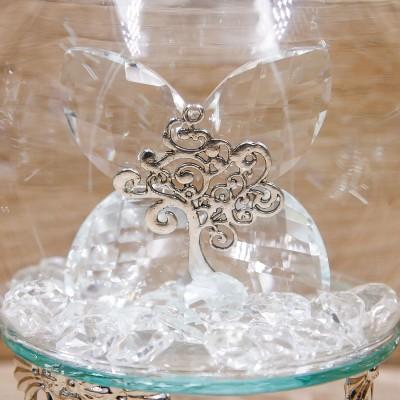 Sfera Led Cristalli con Albero della Vita e Corona Argento Orchidea