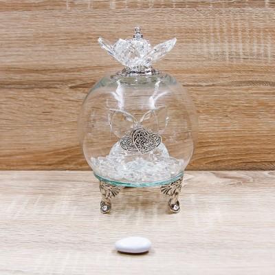Sfera Led Cristalli con Cuori e Corona Argento Orchidea