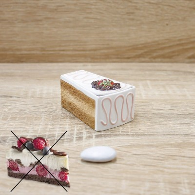 Porta Bon-bon Fetta Torta Cioccolato Bianco Orchidea