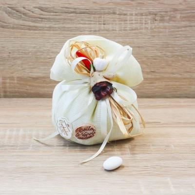 Sacchetto Panna con Maschera Pulcinella Linea Fortuna Orchidea