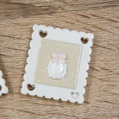 Magnete Simbolo Nascita Rosa con Cornice Orchidea