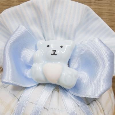 Sacchetto Puffo Celeste con Orsetto del Cuore Orchidea h18 cm