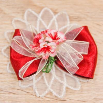 Segnaposto Rosso con Fiorellini Orchidea