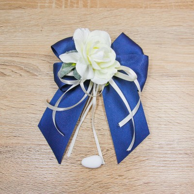 Fiocco Grande Blu e Fiore Bianco Orchidea