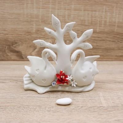 Profumatore Albero della Vita con Cigni Porcellana di Capodimonte Matta
