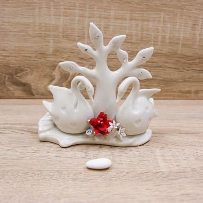 Profumatore Albero della Vita con Cigni Porcellana di Capodimonte Lucido