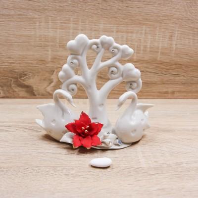 Albero di Cuori con Cigni Porcellana di Capodimonte Lucido