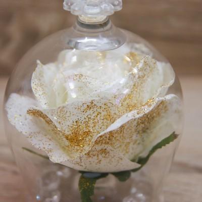 Campana Grande con Rosa Bianca e Glitter Oro Orchidea