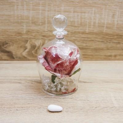 Campana Grande con Rosa Bianca e Glitter Rossi Orchidea