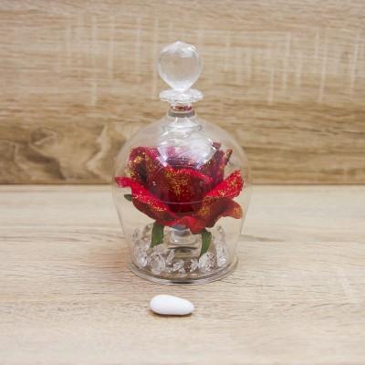 Campana Grande con Rosa Rossa e Glitter Oro Orchidea