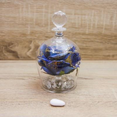 Campana Grande con Rosa Blu e Glitter Oro Orchidea