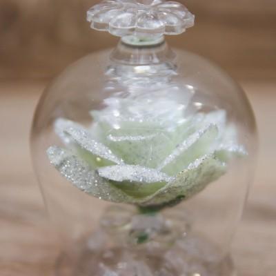Campana con Rosa Bianca e Glitter Argento Orchidea