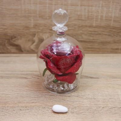 Campana con Rosa Rossa e Glitter Oro Orchidea