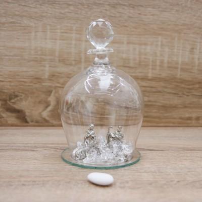 Campana con Sacra Famiglia Argento Orchidea