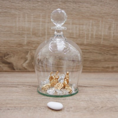 Campana con Sacra Famiglia Oro Orchidea