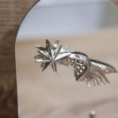 Sacra Famiglia Argento con Specchio Ovale Orchidea
