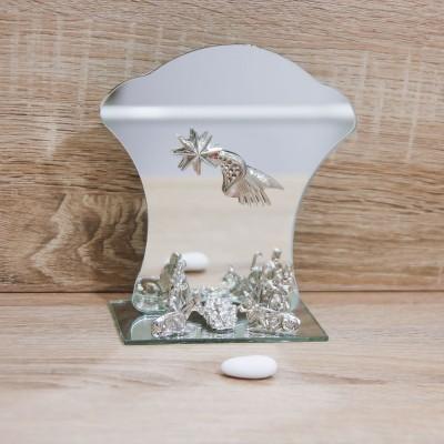 Sacra Famiglia Argento con Specchio Orchidea