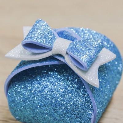 Portaconfetti Piccolo Glitter Celeste Orchidea
