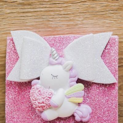 Portaconfetti Glitter Rosa con Magnete Unicorno Orchidea
