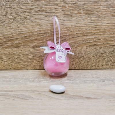 Sfera Portaconfetti con Fiocco Glitter Rosa Orchidea