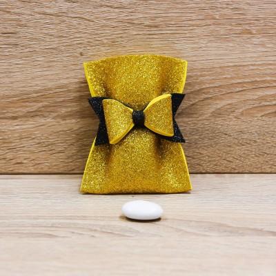 Sacchetto Glitter Oro con Fiocco Orchidea