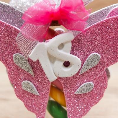 Portaconfetti 18 Anni Glitter Rosa Orchidea