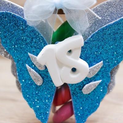 Portaconfetti 18 Anni Glitter Celeste Orchidea