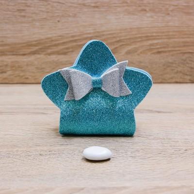 Sacchetto Stella Glitter Celeste Orchidea