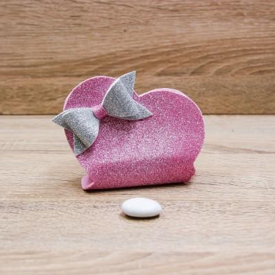 Sacchetto Cuore Glitter Rosa Orchidea