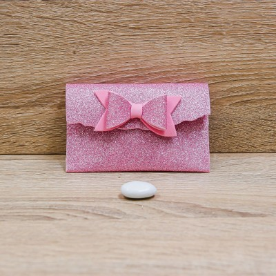 Sacchetto con Specchio Glitter Rosa Orchidea