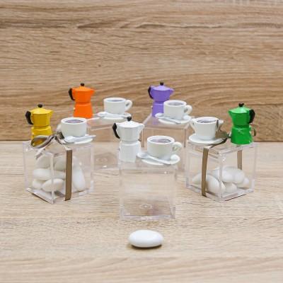 Portaconfetti Cubo con Caffettiera e Tazza di Caffè Orchidea