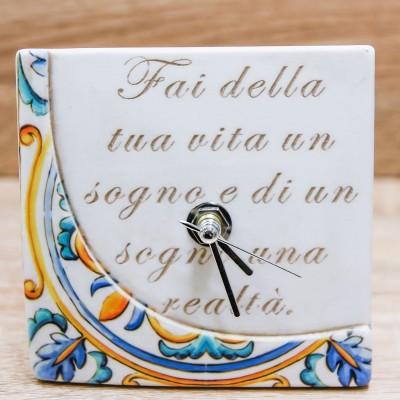 Orologio con Maiolica e Frase Dolcicose