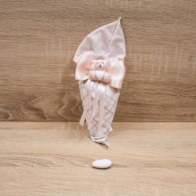 Sacchetto Cono Rosa con Orsetto del Cuore Orchidea