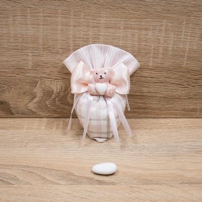 Sacchetto Cono Piccolo Rosa con Orsetto del Cuore Orchidea