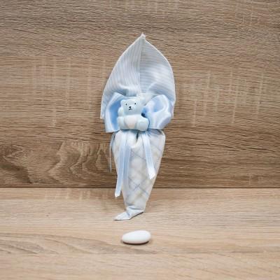 Sacchetto Cono Celeste con Orsetto del Cuore Orchidea
